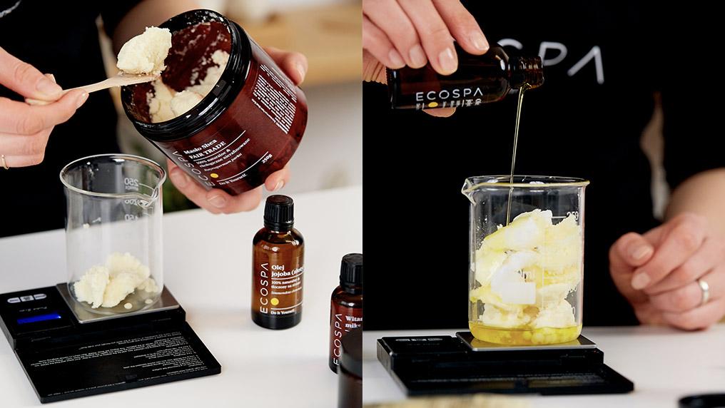 взвешивание ингредиентов масла для тела, сделанного своими руками